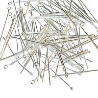 M6155 Eyepins 1.5-Inch 21-Gauge Shiny Silver-Plated Brass Findings 100pc