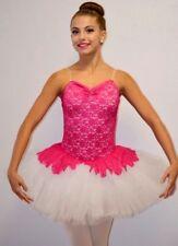 Poetic Dance Costume FUCHSIA Sequin Lace Peplum WHITE Ballet Tutu Adult Large