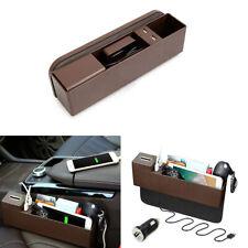 Brown Car Side Pocket Organizer Seat Console Gap Filler Foldable Cup Storage Box