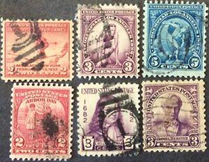 1932 commemorative set, Scott #716-19, 724-25, Used, F-VF