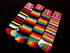 4 Pairs Womens Ladies Girls Toe Socks Strip Rainbow New (p2)