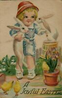 ~Child with Bunny Rabbits~ Flowers~ Antique~Easter Postcard-p685