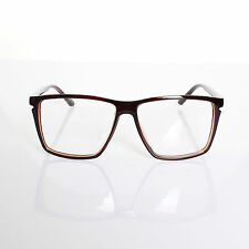 Mens Womens Retro Nerd Fashion Clear Lens Glasses Geek Brown Frame