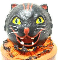 Kitty On Box Halloween Holiday Retro Vntg Decor Figurine