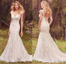 Custom New Mermaid White/Ivory Wedding Dress Bridal Gown Size 6 8 10 12 14 16 ++