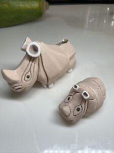 Vintage Artesania Rinconada Rhinoceros and Baby Clay Figurines