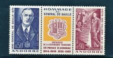 FRENCH ANDORRA 1972 CHARLES DE GAULLE STRIP WITH LABEL SCOTT 218a