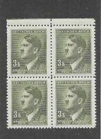 MNH Stamp block 3 Kr / 1942 Third Reich / Adolph Hitler / WWII German Occupation