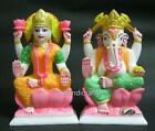 09 Inches Marble Lord Laxmi Ganesha Statue Hand Painted can be use for Temple