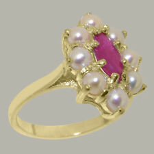 Solid 14ct Yellow Gold Natural Ruby & Full Pearl Womens Cluster Ring