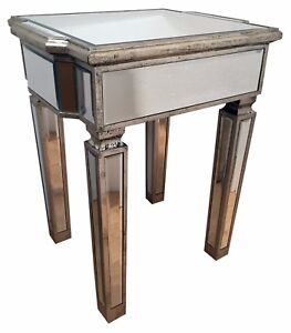 Mirrored Glass Side Table Antiqued Silver Wood Edging Furniture Interiors Home