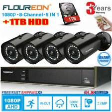 FLOUREON CCTV 8CH 1080N DVR Recorder 3000TVL Outdoor Security Camera Systems+1TB