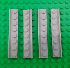*NEW* Lego Light Grey 1x8 Stud Flat Plates Thin Rim Houses Buildings - 4 pieces