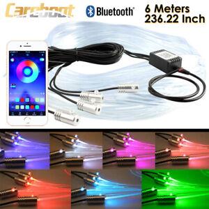 4in1 6M RGB LED Car Interior Fiber Optic Neon EL Wire Strip Light Atmosphere APP