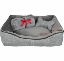 "La Ti Paw 12191-01 25"" x 19"" Pet Bed with Plush Bone Toy and Throw Blanket Gift"