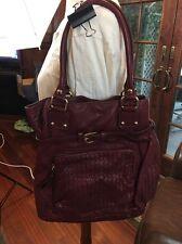 Leather Elliott Lucca handbag Purse Red and Purple stunning purse satchel