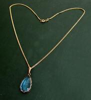 Antike 333er Jugendstil-GOLDKETTE m. blauem STEIN ~1920 • 4,9 g Tropfen