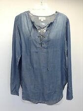CLOTH & STONE Anthropologie Chambray Tencel Lace Up Bell L/S Tunic Top NEW S