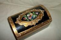 ITALIAN FLORENTINE GILT WOOD DOME BOX HP ROSES BLACK VINTAGE VINTAGE MID CENTURY