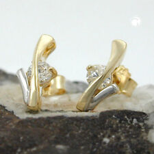 375 Ohrstecker Ohrringe Goldohrringe Stecker bicolor Zirkonia, 9Kt GOLD
