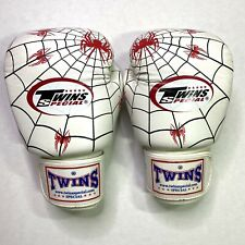 Twins Special Edition Muay Thai MMA K1 Boxing Gloves White & Black  Spider 16oz