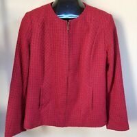 Coldwater Creek Women's Tweed Knit Blazer Jacket Full Zip Wool Blend Red Size 12