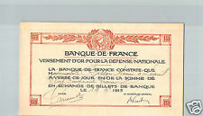 BANQUE DE FRANCE 150 FRANCS 19.9.1915 VERSEMENT OR