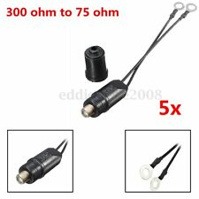 5pcs 300 Outdoor Antenna To 75 Ohm Coaxial Cable Matching Transformer UHF/VHF/FM