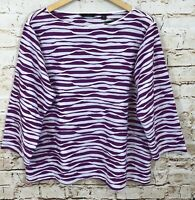 Investments shirt top womens 2X purple striped textured wavy new 3/4 sleeve A12