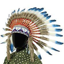 Indian Headdress CHEF PLUMES Bonnet Native American Gringo bleu taches noires