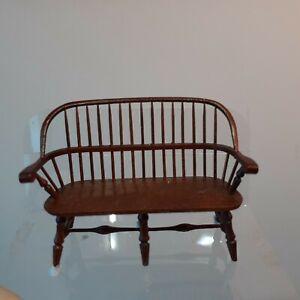 "606  Dollhouse miniature William Clinger 1:24 Exquisite Wood Bench, 1 3/8"" long"