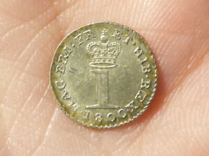 1800 George III  Silver Maundy 1d Penny Lustre & Toned Coin  #PE22