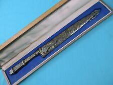 Vintage Argentina Gaucho Alpaca Silver Large Bowie Knife w/ Scabbard Box