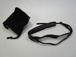 Vintage Nikon camera lens bag suede and strap