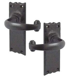 Rustic Door Handles No Key Hole Black Cast Iron (Backplate 48mm x 108mm) JAB2