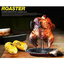 Steel Non-stick Chicken Poultry Roaster Rack Tray Pan with Bowl Tin BBQ Grill