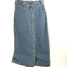 Vintage Gloria Vanderbilt Womens Denim Skirt 12 Button Deadstock Pockets NOS