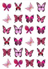 24 X MIXED PINK BUTTERFLY EDIBLE CUPCAKE TOPPERS CAKE RICE PAPER M3