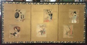 Unusual Antique Japanese 3 Panel Screen Painting w/ 6 Original Woodblock Prints