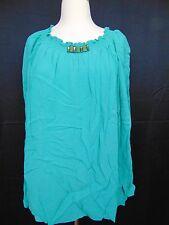 Jones New York Blouse Seafoam Green Peasant Style Jeweled Neck Size 18W #472