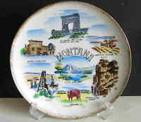 """MONTANA MT 10"""" State SOUVENIR Plate Full Color Attractions Vintage FREE SH"""