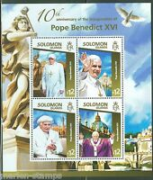 SOLOMON ISLANDS 2015 POPE BENEDICT XVI 10TH ANNIVERSARY OF PAPACY SHEET OF FOUR