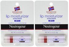 2 Pack Brand New Neutrogena Lip Moisturizer SPF 15 0.15 oz Each