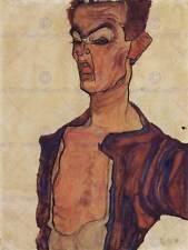 Egon schiele self portrait grimace coup de ciseaux old art painting print 838OMB