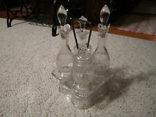 Beautiful Vintage Glass Cruet Holder W/4 Glass Cruet Condiments!!!!