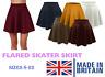 Women's Skater Skirt Plus Size Flared Plain Elastic Waist Ladies Short Size 8-22