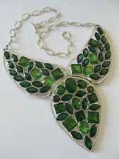 Sectioned Fashion Statement Necklace Bold Colorful Silvertone Collar Style