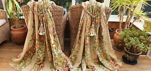 """PAIR OF DESIGNERS GUILD """"VERONA""""  LINED CURTAINS 55"""" DROP BY 74"""" WIDTH"""