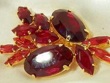 Sassy Red Vintage 1950's Open Back Crystal Navette Rhinestone Brooch 593N4