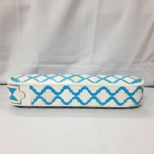Made to Order Real Bone Inlay Designer Luxury Pencil Box Gift storage Blue